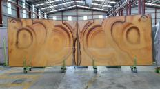 Supply polished slabs 0.8 cm in natural onyx ONICE ARCOIRIS Raimbow. Detail image pictures