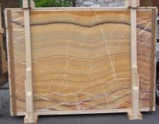 Supply polished slabs 0.8 cm in natural onyx ONICE ARCOIRIS E-OAI14742. Detail image pictures