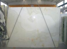 Supply polished slabs 0.8 cm in natural onyx ONICE BIANCO SR-2010119. Detail image pictures