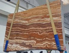 Supply honed slabs 0.8 cm in natural onyx ONICE PASSION U0283. Detail image pictures