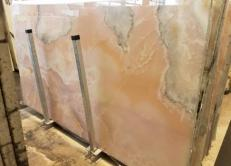 Supply polished slabs 0.8 cm in natural onyx ONICE ROSA AA S0242. Detail image pictures