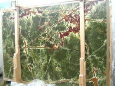 Supply polished slabs 0.8 cm in natural onyx ONICE VERDE SCURO E_H352. Detail image pictures