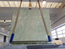 Supply polished slabs 0.8 cm in natural onyx ONICE VERDE AA S0095. Detail image pictures