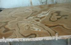 Supply polished slabs 0.8 cm in natural onyx ONYX CAPPUCCINO EM_0411. Detail image pictures