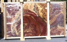 Supply polished slabs 0.8 cm in natural onyx ONYX MULTICOLOR E-14539. Detail image pictures