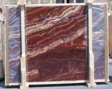 Supply polished slabs 0.8 cm in natural onyx ONYX RED EXTRA E-14637. Detail image pictures