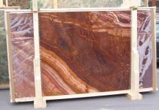 Supply polished slabs 0.8 cm in natural onyx ONYX RED EXTRA E-ORE14634. Detail image pictures