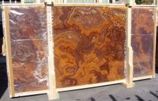 Supply polished slabs 0.8 cm in natural onyx ONYX RED E-14533B. Detail image pictures