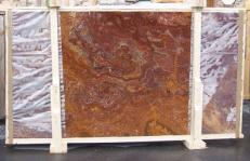Supply polished slabs 0.8 cm in natural onyx ONYX RED E-OR14640. Detail image pictures