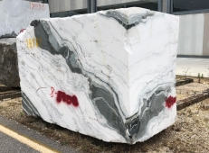 Supply rough blocks 84 cm in natural marble PANDA 1517M. Detail image pictures