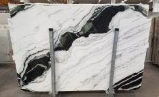 Supply polished slabs 0.8 cm in natural marble PANDA 1517M. Detail image pictures