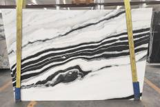 Supply polished slabs 0.8 cm in natural marble PANDA 1771M. Detail image pictures