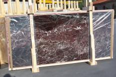 Supply polished slabs 0.8 cm in natural marble ROSSO LEVANTO E-14915. Detail image pictures