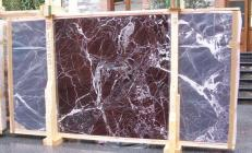 Supply polished slabs 0.8 cm in natural marble ROSSO LEVANTO E-10003. Detail image pictures