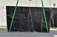 Supply polished slabs 0.8 cm in natural marble Sahara Noir 1318. Detail image pictures