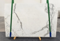 Supply polished slabs 0.8 cm in natural marble STATUARIO VENATO 1225. Detail image pictures