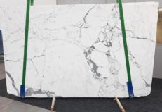 Supply polished slabs 0.8 cm in natural marble STATUARIO GL 979. Detail image pictures