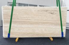 Supply honed slabs 0.8 cm in natural travertine TRAVERTINO ALABASTRIN0 1309. Detail image pictures