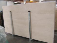 Supply polished slabs 1.2 cm in natural travertine TRAVERTINO NAVONA C-932. Detail image pictures