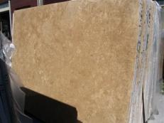 Supply polished slabs 0.8 cm in natural travertine TRAVERTINO NOCE EDM25107. Detail image pictures