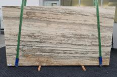 Supply honed slabs 0.8 cm in natural travertine TRAVERTINO SILVER ROMANO 1397. Detail image pictures