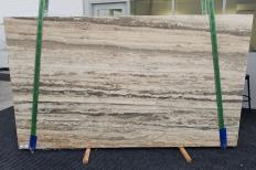 Supply honed slabs 1.2 cm in natural travertine TRAVERTINO SILVER ROMANO 1397. Detail image pictures