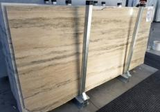 Supply polished slabs 0.8 cm in natural travertine TRAVERTINO SILVER ROMANO GL 898. Detail image pictures
