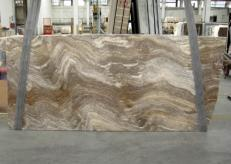 Supply polished slabs 0.8 cm in natural travertine TRAVERTINO SILVER C-945. Detail image pictures