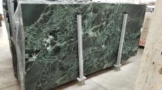 Supply polished slabs 0.8 cm in natural marble VERDE ALPI 1566M. Detail image pictures