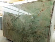 Supply polished slabs 0.8 cm in natural quartzite VERDE JADOR A0114. Detail image pictures