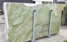 Supply polished slabs 0.8 cm in natural marble VERDE MING ZL0076. Detail image pictures