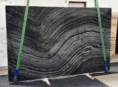 Supply polished slabs 0.8 cm in natural marble Zebra Black 1387. Detail image pictures