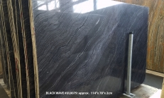 Supply polished slabs 0.8 cm in natural marble Zebra Black UL0079. Detail image pictures
