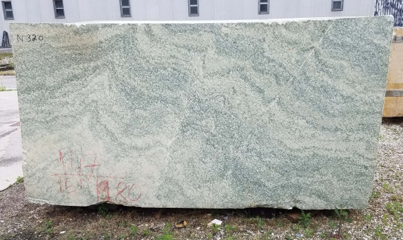 Vert d'Estours Supply Veneto (Italy) rough blocks N320 , Face A natural marble