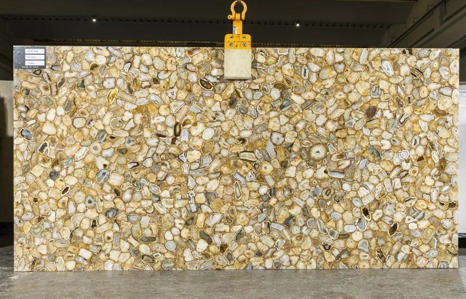 AGATE GOLD Supply Veneto (Italy) polished slabs TL0143 , SL2CM natural semi precious stone