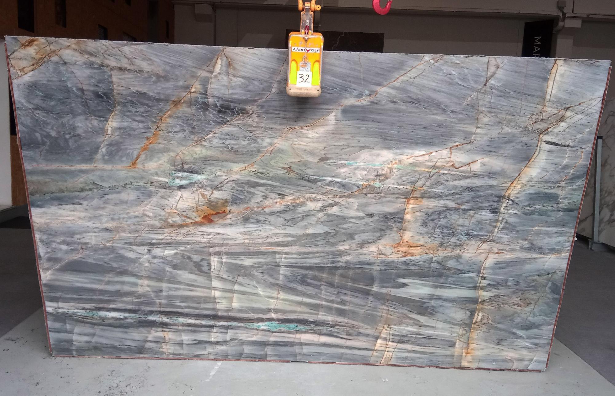 BRITA BLUE Supply Veneto (Italy) polished slabs Z0359 , Slab #32 natural quartzite