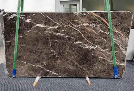 MARRON IRISslab polished Spanish marble Slab #18,  114.2 x 63 x 0.8 ˮ natural stone (available in Veneto, Italy)