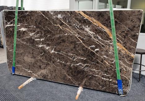 MARRON IRISslab polished Spanish marble Slab #26,  114.2 x 63 x 0.8 ˮ natural stone (available in Veneto, Italy)