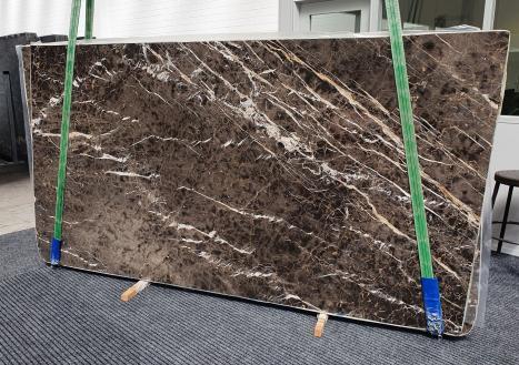 MARRON IRISslab polished Spanish marble Slab #34,  114.2 x 63 x 0.8 ˮ natural stone (available in Veneto, Italy)