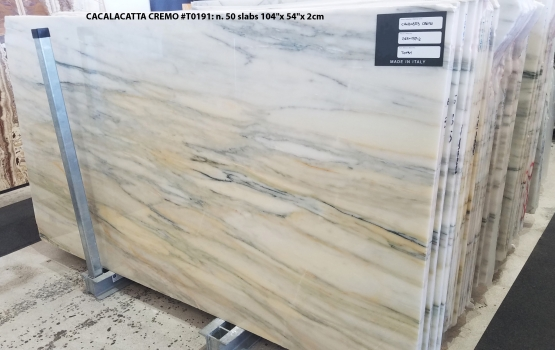 CALACATTA CREMO 50 slabs polished Turkish marble 104 x 54 x 0.8 ˮ natural stone (available in Veneto, Italy)