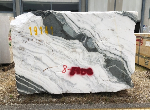 PANDA 1 block rough Chinese marble 103 x 67 x 33 ˮ natural stone (sold in Verona, Italy)